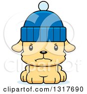 Animal Clipart Of A Cartoon Cute Mad Puppy Dog Wearing A Winter Hat Royalty Free Vector Illustration
