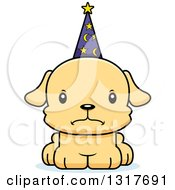 Animal Clipart Of A Cartoon Cute Mad Puppy Dog Wizard Royalty Free Vector Illustration