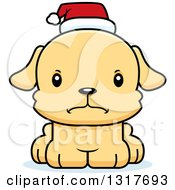 Animal Clipart Of A Cartoon Cute Mad Christmas Puppy Dog Wearing A Santa Hat Royalty Free Vector Illustration by Cory Thoman