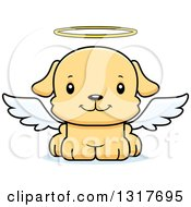 Animal Clipart Of A Cartoon Cute Happy Puppy Dog Angel Royalty Free Vector Illustration