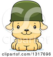 Animal Clipart Of A Cartoon Cute Happy Puppy Dog Army Soldier Royalty Free Vector Illustration