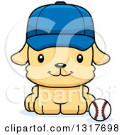 Animal Clipart Of A Cartoon Cute Happy Puppy Dog Sitting By A Baseball Royalty Free Vector Illustration