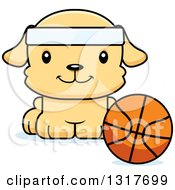 Animal Clipart Of A Cartoon Cute Happy Puppy Dog Sitting By A Basketball Royalty Free Vector Illustration