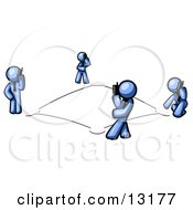 Wireless Telephone Network Of Blue Men Talking On Cell Phones Clipart Illustration