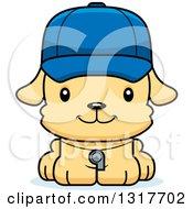 Animal Clipart Of A Cartoon Cute Happy Puppy Dog Coach Royalty Free Vector Illustration