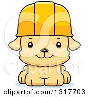 Cartoon Cute Happy Puppy Dog Construction Worker