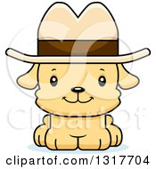 Animal Clipart Of A Cartoon Cute Happy Puppy Dog Cowboy Royalty Free Vector Illustration