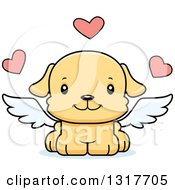 Animal Clipart Of A Cartoon Cute Happy Puppy Dog Cupid Royalty Free Vector Illustration