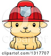 Animal Clipart Of A Cartoon Cute Happy Puppy Dog Fireman Royalty Free Vector Illustration