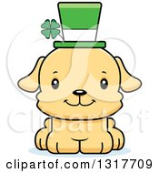 Animal Clipart Of A Cartoon Cute Happy Irish St Patricks Day Puppy Dog Royalty Free Vector Illustration