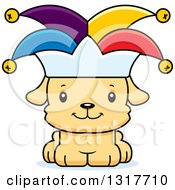 Animal Clipart Of A Cartoon Cute Happy Puppy Dog Jesters Royalty Free Vector Illustration