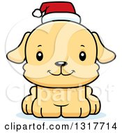 Animal Clipart Of A Cartoon Cute Happy Christmas Puppy Dog Wearing A Santa Hat Royalty Free Vector Illustration by Cory Thoman
