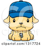 Animal Clipart Of A Cartoon Cute Mad Puppy Dog Coach Royalty Free Vector Illustration
