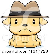 Animal Clipart Of A Cartoon Cute Mad Puppy Dog Detective Royalty Free Vector Illustration