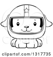 Animal Lineart Clipart Of A Cartoon Black And WhiteCute Happy Puppy Dog Race Car Driver Royalty Free Outline Vector Illustration