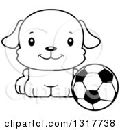 Animal Lineart Clipart Of A Cartoon Black And WhiteCute Happy Puppy Dog Sitting By A Soccer Ball Royalty Free Outline Vector Illustration