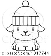 Animal Lineart Clipart Of A Cartoon Black And WhiteCute Happy Puppy Dog Wearing A Winter Hat Royalty Free Outline Vector Illustration