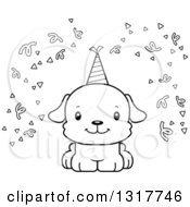 Animal Lineart Clipart Of A Cartoon Black And WhiteCute Happy Puppy Puppy Dog Royalty Free Outline Vector Illustration