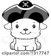 Animal Lineart Clipart Of A Cartoon Black And WhiteCute Happy Puppy Dog Pirate Royalty Free Outline Vector Illustration
