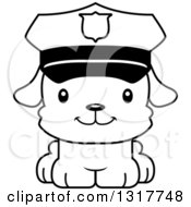 Animal Lineart Clipart Of A Cartoon Black And WhiteCute Happy Puppy Dog Police Officer Royalty Free Outline Vector Illustration
