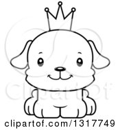 Animal Lineart Clipart Of A Cartoon Black And WhiteCute Happy Puppy Dog Prince Royalty Free Outline Vector Illustration