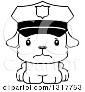Animal Lineart Clipart Of A Cartoon Black And WhiteCute Mad Puppy Dog Police Officer Royalty Free Outline Vector Illustration