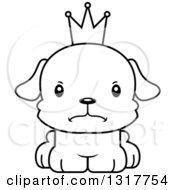 Animal Lineart Clipart Of A Cartoon Black And WhiteCute Mad Puppy Dog Prince Royalty Free Outline Vector Illustration