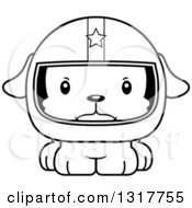 Animal Lineart Clipart Of A Cartoon Black And WhiteCute Mad Puppy Dog Race Car Driver Royalty Free Outline Vector Illustration