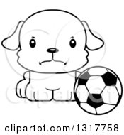 Animal Lineart Clipart Of A Cartoon Black And WhiteCute Mad Puppy Dog Sitting By A Soccer Ball Royalty Free Outline Vector Illustration