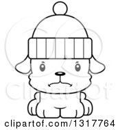 Animal Lineart Clipart Of A Cartoon Black And WhiteCute Mad Puppy Dog Wearing A Winter Hat Royalty Free Outline Vector Illustration