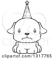 Animal Lineart Clipart Of A Cartoon Black And WhiteCute Mad Puppy Dog Wizard Royalty Free Outline Vector Illustration
