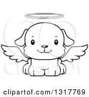 Animal Lineart Clipart Of A Cartoon Black And WhiteCute Happy Puppy Dog Angel Royalty Free Outline Vector Illustration