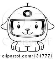 Animal Lineart Clipart Of A Cartoon Black And WhiteCute Happy Puppy Dog Astronaut Royalty Free Outline Vector Illustration