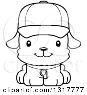 Animal Lineart Clipart Of A Cartoon Black And WhiteCute Happy Puppy Dog Coach Royalty Free Outline Vector Illustration