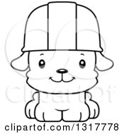 Cartoon Black And White Cute Happy Puppy Dog Construction Worker