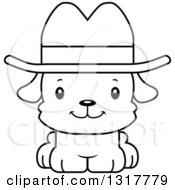 Animal Lineart Clipart Of A Cartoon Black And WhiteCute Happy Puppy Dog Cowboy Royalty Free Outline Vector Illustration