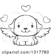 Animal Lineart Clipart Of A Cartoon Black And WhiteCute Happy Puppy Dog Cupid Royalty Free Outline Vector Illustration