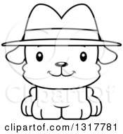 Animal Lineart Clipart Of A Cartoon Black And WhiteCute Happy Puppy Dog Detective Royalty Free Outline Vector Illustration