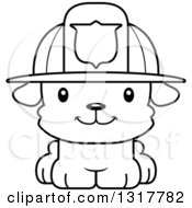 Animal Lineart Clipart Of A Cartoon Black And WhiteCute Happy Puppy Dog Fireman Royalty Free Outline Vector Illustration