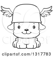 Animal Lineart Clipart Of A Cartoon Black And WhiteCute Happy Puppy Dog Hermes Royalty Free Outline Vector Illustration