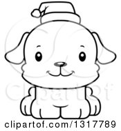 Animal Lineart Clipart Of A Cartoon Black And WhiteCute Happy Christmas Puppy Dog Wearing A Santa Hat Royalty Free Outline Vector Illustration by Cory Thoman