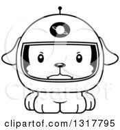 Animal Lineart Clipart Of A Cartoon Black And WhiteCute Mad Puppy Dog Astronaut Royalty Free Outline Vector Illustration