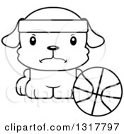 Animal Lineart Clipart Of A Cartoon Black And WhiteCute Mad Puppy Dog Sitting By A Basketball Royalty Free Outline Vector Illustration