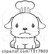 Animal Lineart Clipart Of A Cartoon Black And WhiteCute Mad Puppy Dog Chef Royalty Free Outline Vector Illustration