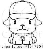 Animal Lineart Clipart Of A Cartoon Black And WhiteCute Mad Puppy Dog Coach Royalty Free Outline Vector Illustration