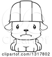 Cartoon Black And White Cute Mad Puppy Dog Construction Worker