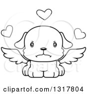 Animal Lineart Clipart Of A Cartoon Black And WhiteCute Mad Puppy Dog Cupid Royalty Free Outline Vector Illustration