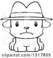Animal Lineart Clipart Of A Cartoon Black And WhiteCute Mad Puppy Dog Detective Royalty Free Outline Vector Illustration