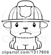 Animal Lineart Clipart Of A Cartoon Black And WhiteCute Mad Puppy Dog Fireman Royalty Free Outline Vector Illustration