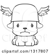 Animal Lineart Clipart Of A Cartoon Black And WhiteCute Mad Puppy Dog Hermes Royalty Free Outline Vector Illustration